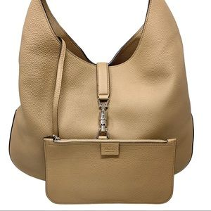 NWT Gucci Beige Jackie Soft Pebbled Leather Large